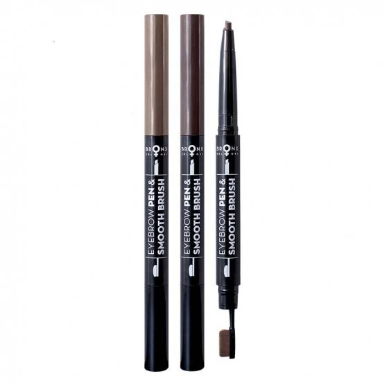 Карандаш-ручка с кистью для бровей 2 в 1